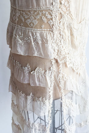 1920s Silk Batiste Embroidered Flapper Dress - S