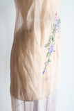 Vintage Pink Silk Organza Dress with Embroidery - S
