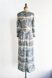 1960s Silk Printed Sequined Gown - M