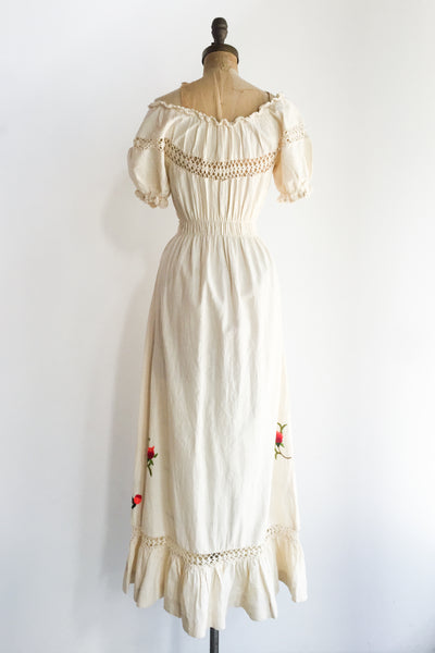 1970s Linen Embroidered Dress - S/M
