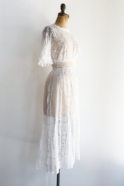 Edwardian Valenciennes and Cotton Lace Dress - XS
