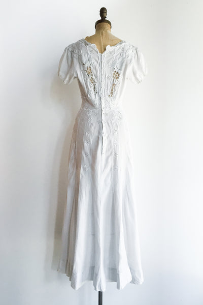 Edwardian Linen Embroidered Dress - S/M