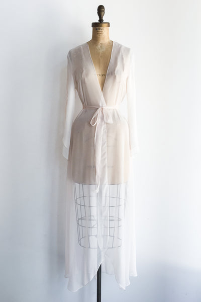 1980s Light Pink Split Sleeve Chiffon Dressing Robe - S