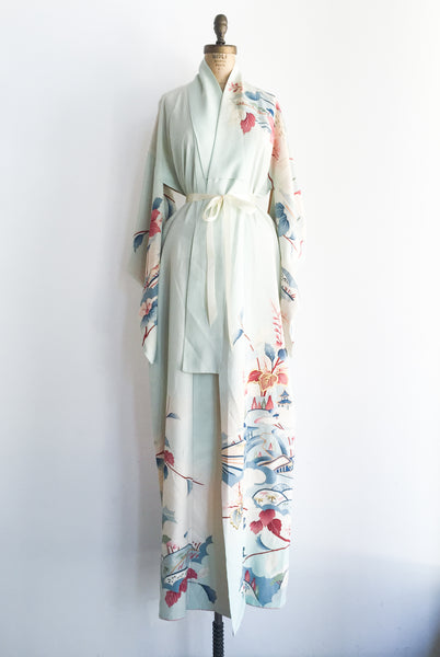 Vintage Light Blue Silk Floral Kimono - One Size