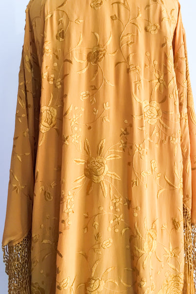 Vintage Marigold Silk Embroidered Fringed Robe - One Size