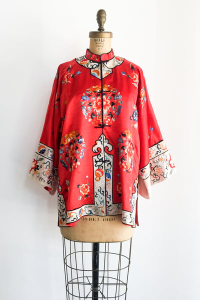 Antique Red Embroidered Jacket - M