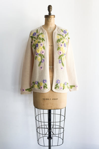 1950s Cream Floral Embroidered Cardigan - M