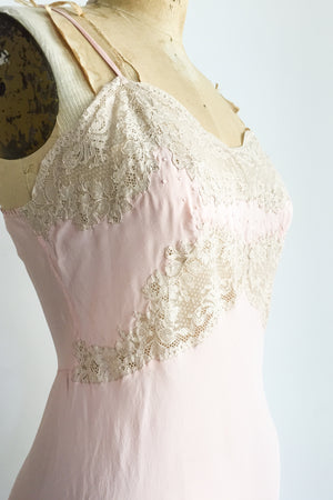 1920s Pink Silk Step-in Skirt Slip - S