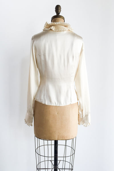 Vintage Ruffled Collar Ivory Silk Blouse - S/M