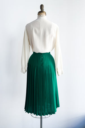 1950s Emerald Green Pleated Skirt - S/M