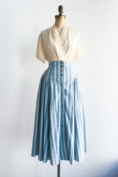 1980s Denim High Waisted Skirt - M