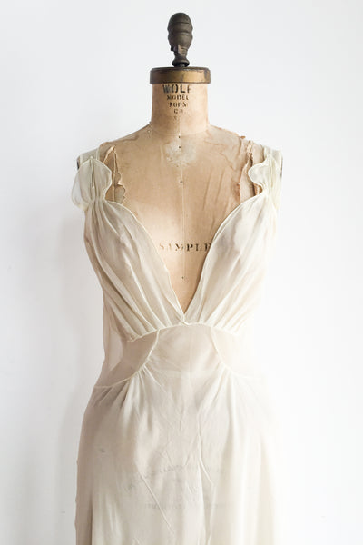 Vintage Ivory Sheer Slip Dress - S/M