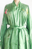 Rare Green Antique Brochade Embroidered Silk Kimono with Sash - One Size