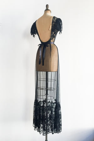 1960s Low Back Sheer Tulle Dress - S/M