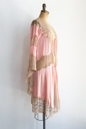 1930s Pink Silk Charmeuse with Ecru Lace Dressing Gown - XS/S