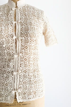 1960s Crochet Lace Top - XS