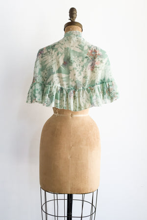 1970s Green Cotton Floral Capelet - One Size