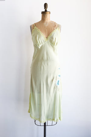 1980s Chartreuse Green Silk Embroidered Slip Dress - S/M