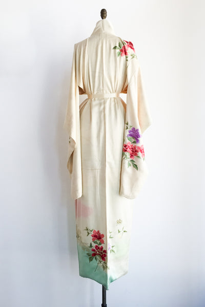 Vintage Silk Ombre Embroidered Kimono - One Size