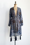 1980s Velvet Burnout Duster/Robe with Tassels - One Size