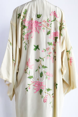 Vintage Yellow Rayon Floral Embroidered Kimono - One Size
