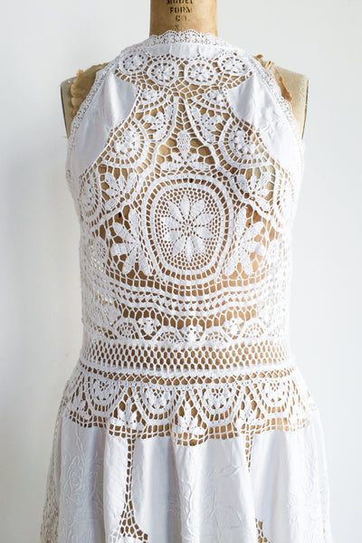 1970s Halter Neck Crochet Cutout Dress - M