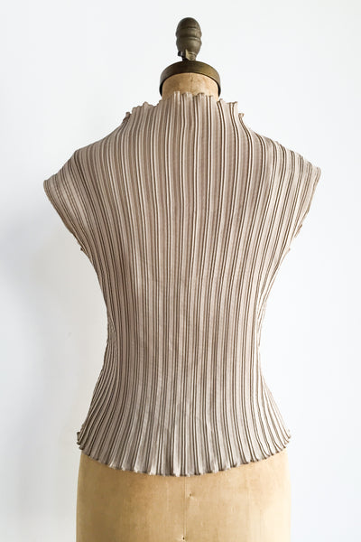 Vintage Taupe Pleated Top - S/M