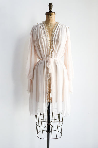1980s Pink Chiffon Poet Sleeves Dressing Gown - Flexible
