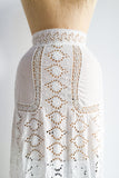 Antique Edwardian Eyelet Cotton Skirt - XXS