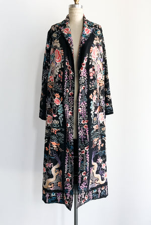 1920s Heavily Embroidered Silk Long Jacket/Duster - S/M