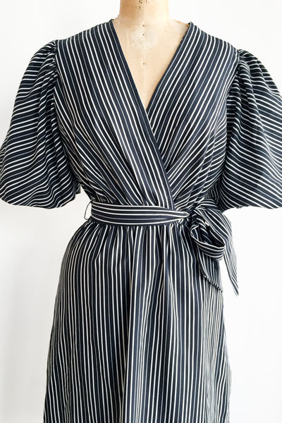 1980s Puffed Sleeves Faux Wrap Dress - S/M