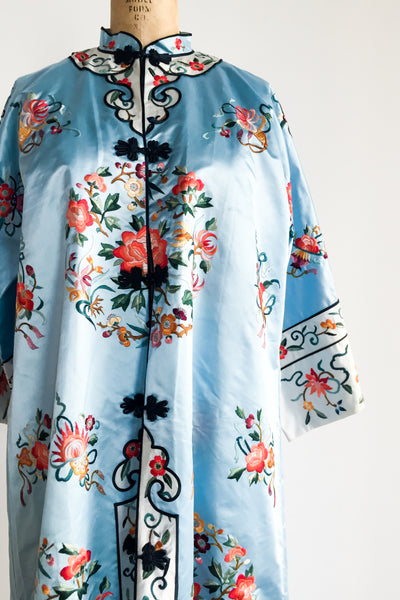 Vintage Sky Blue Silk and Satin Robe - M