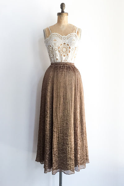 1960s Metal Pleated Beaded Skirt/Dress - S