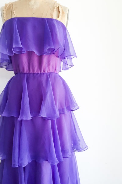 1960s Purple Chiffon Strapless Dress - XS/S