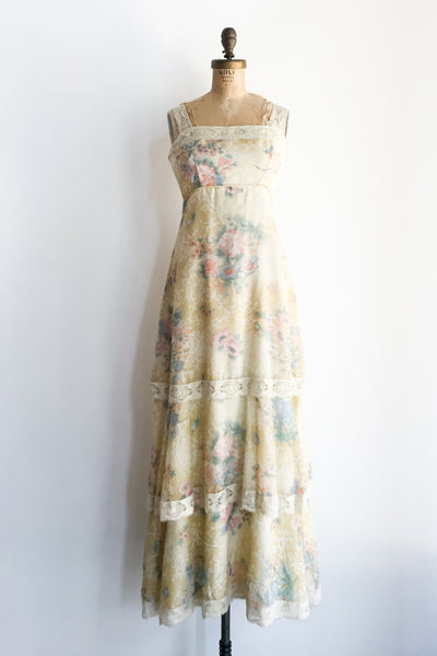 1970s Yellow Floral Tiered Dress - XS