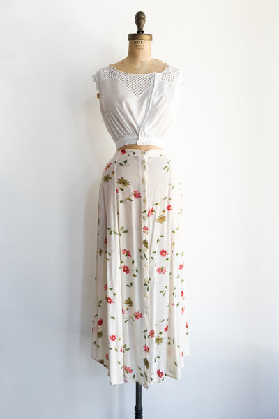 Vintage Cotton Floral Skirt with Front Buttons - M