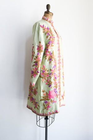 Vintage Green Tafetta Embroidered Jacket - M/L