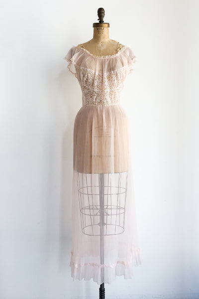 1960s Sheer Pleated Nylon Dress - XS/S