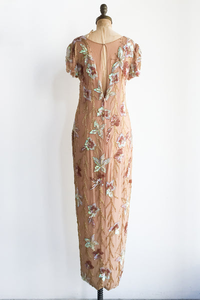 1980s Taupe/Tan Silk Chiffon Beaded Gown - M