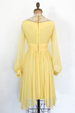 1960s Silk Poet Sleeves Mini Dress - XS