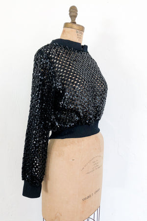 1950s Cutout Sequined Sweater - S