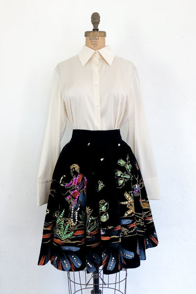 1950s Velvet Painted Sequined Skirt - XS
