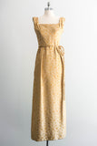 [SOLD] Gold Pure Silk Brocade Wiggle Dress
