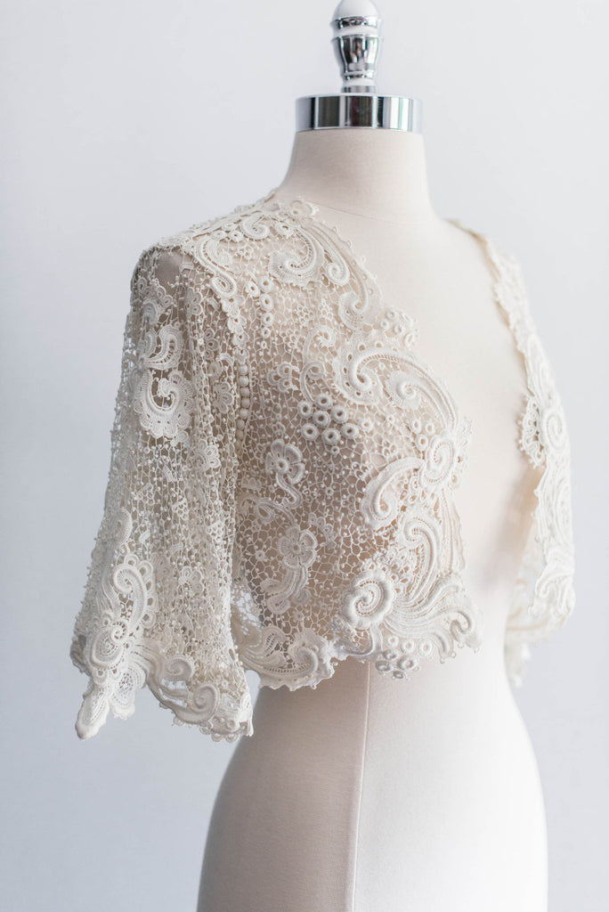 Sold Antique Irish Lace Crochet Cropped Jacket G O S S A M E R