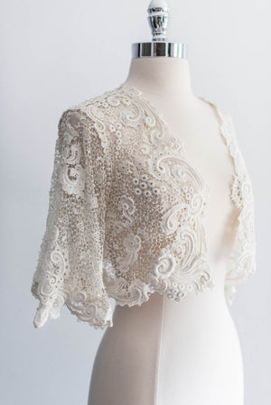 [SOLD] Antique Irish Lace Crochet Cropped Jacket