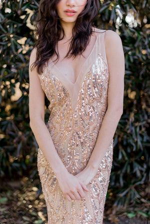 Nude Gold Sequined Beaded Gown