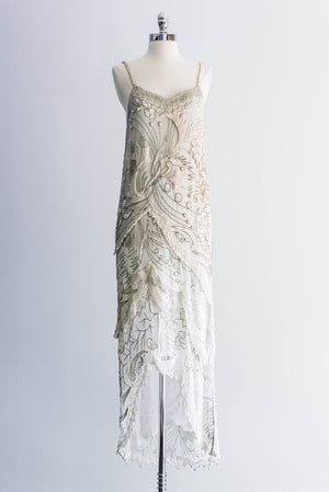 1980s Silk Flapper-Inspired Dress - S/M