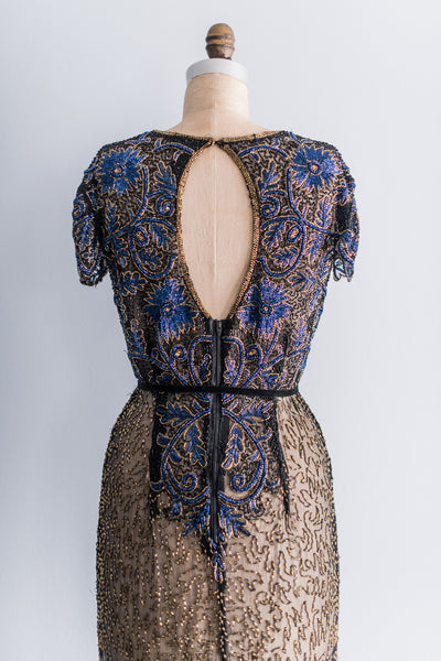 [SOLD] Floral Beaded Silk Gown