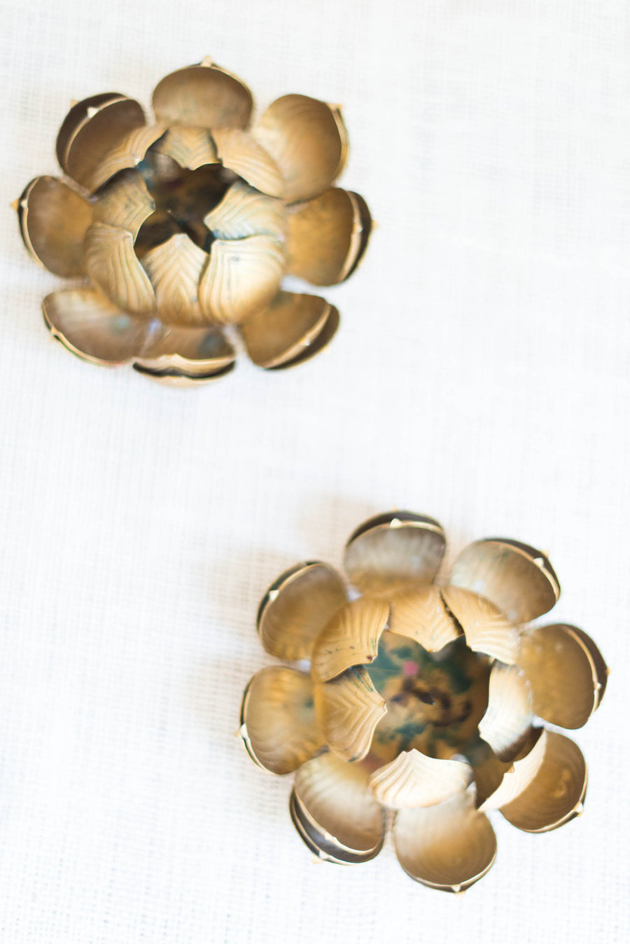 Pair Gilded Brass Lotus Candle Holder