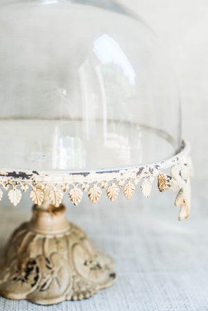 Iron and Glass Dome Cake Stand